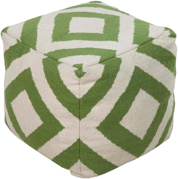 Surya Cube Hand Made Wool Pouf, 18 by 18 inches, Ivory,Forest