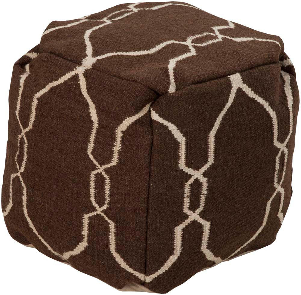 Jill Rosenwald Surya Poufs Cube Wool Pouf, 18 by 18 inches, Chocolate,Beige
