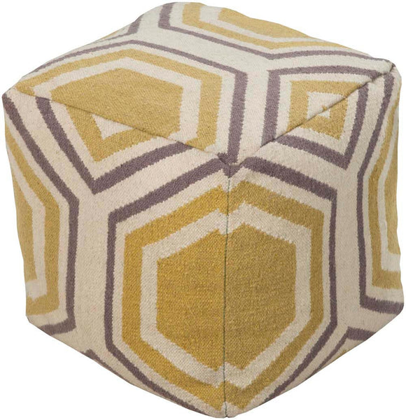 Surya Cube Hand Made Wool Pouf, 18 by 18 inches, Gold,Ivory,Gray