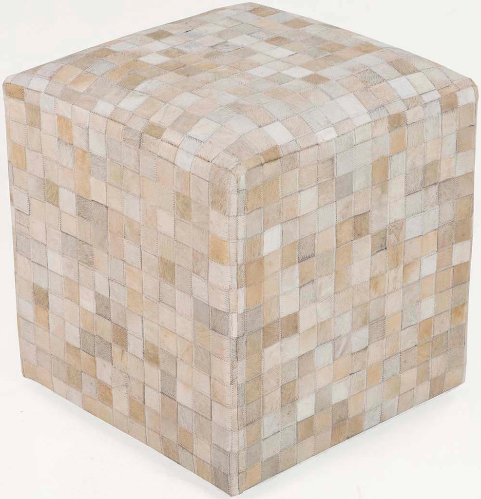 Surya Cube Hand Made Leather Pouf, 18 by 18 inches, Ivory,Mocha
