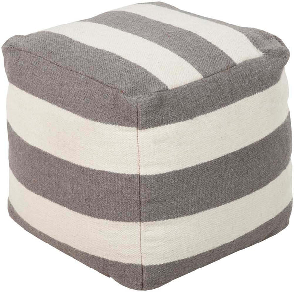Surya Cube Hand Made Wool Pouf, 18 by 18 inches, Gray,Ivory