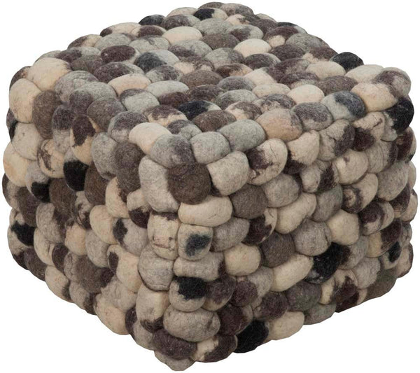 Surya Poufs Cube Wool Pouf, 18 by 18 inches, Charcoal,Light Gray,Ivory,Black