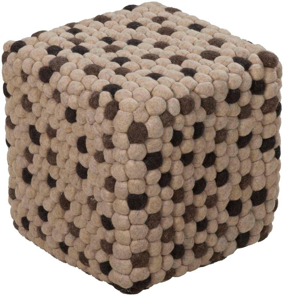 Surya Cube Hand Made Wool Pouf, 18 by 18 inches, Ivory,Charcoal,Black