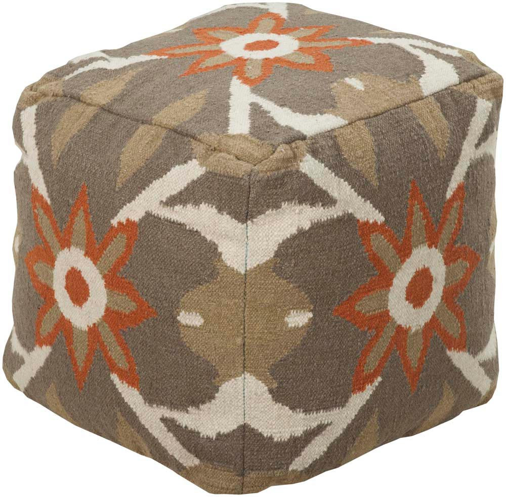 Surya Poufs Cube Cotton, Wool Pouf, 18 by 18 inches, Olive,Coral,Tan,Beige