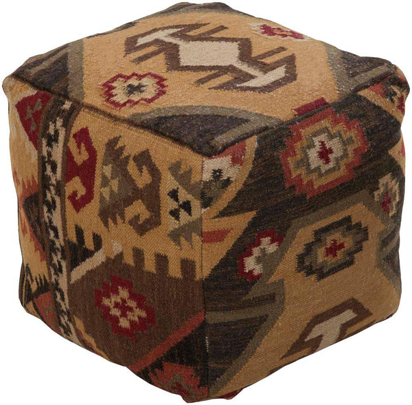 Surya Cube Cotton, Wool Pouf, 18 by 18 inches, Chocolate,Burgundy,Olive,Black,Taupe,Gold
