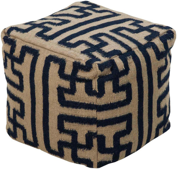 Smithsonian Surya Poufs Cube Wool Pouf, 18 by 18 inches, Olive,Charcoal