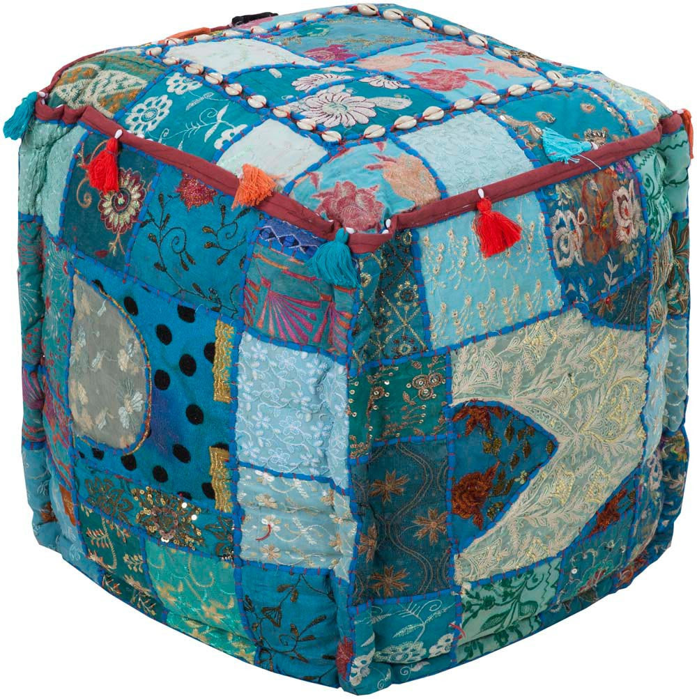 Surya Poufs Cube Cotton Pouf, 18 by 18 inches, Teal,Cobalt,Sea Foam,Sky Blue,Hot Pink