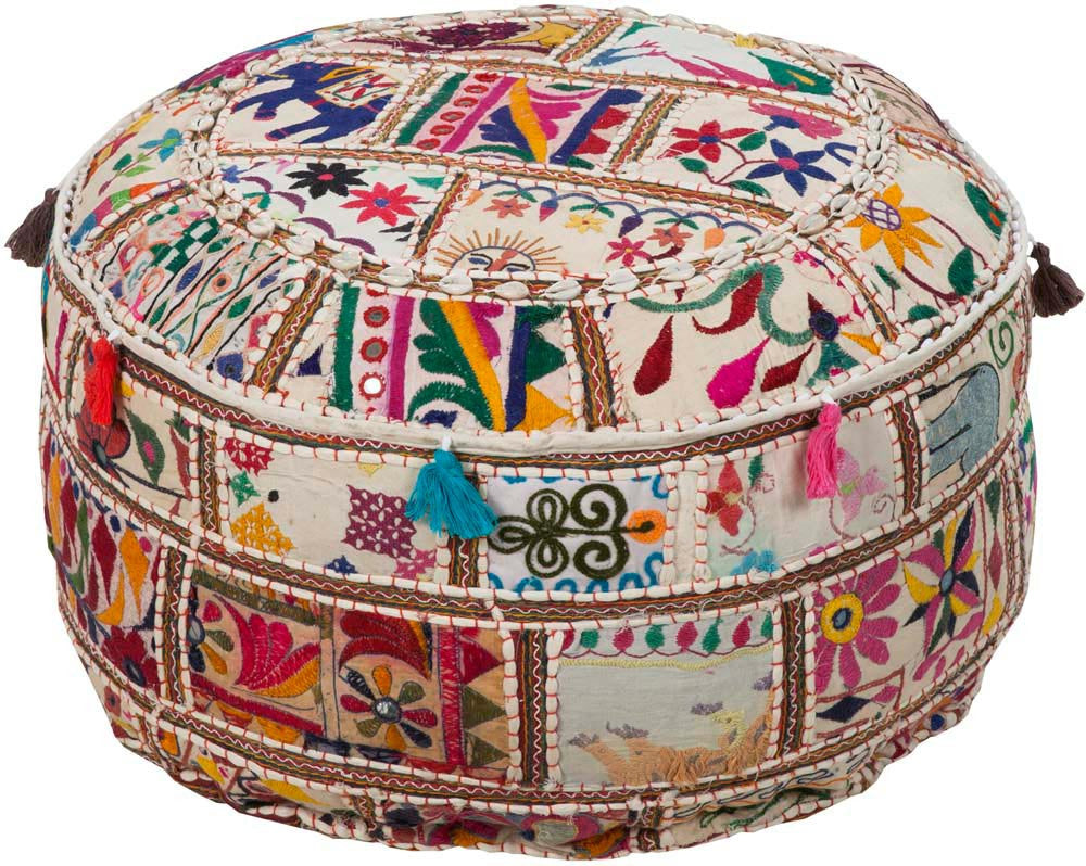 Surya Poufs Cylinder Cotton Pouf, 22 by 22 inches, Ivory,Cobalt,Hot Pink,Sunflower,Forest