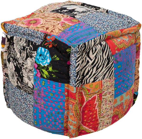 Surya Poufs Cube Cotton Pouf, 18 by 18 inches, Violet,Black,Taupe,Hot Pink