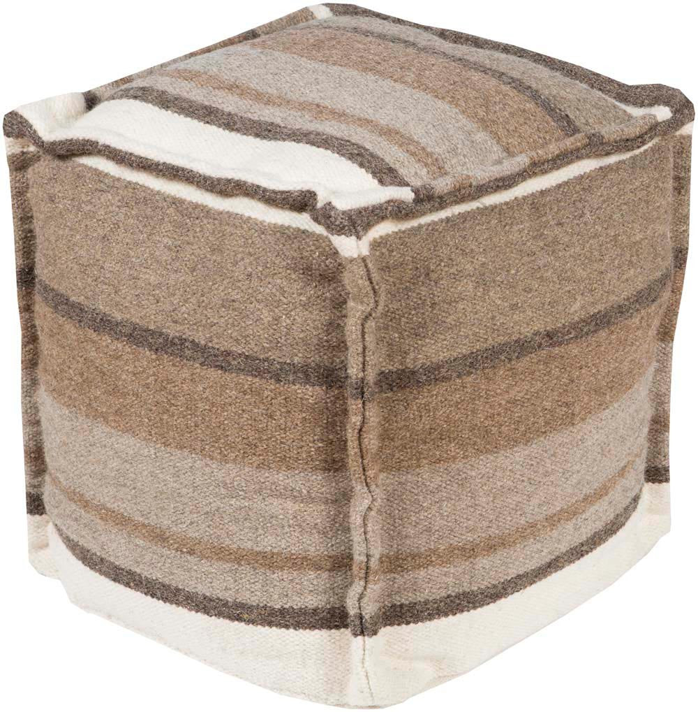 Surya Cube Hand Made Wool Pouf, 18 by 18 inches, Gray,Olive,Ivory,Olive