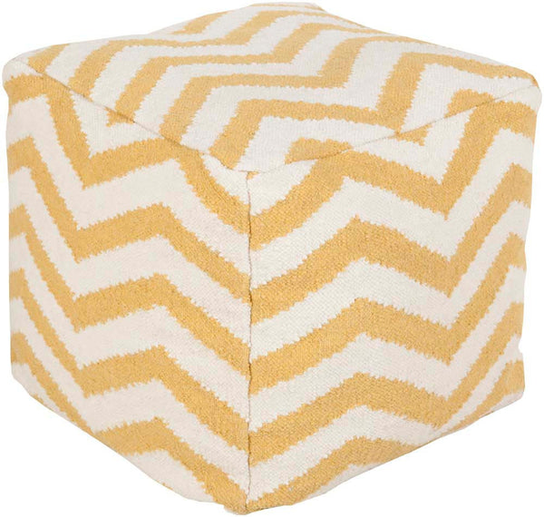 Surya Cube Hand Made Wool Pouf, Poppy,Ivory