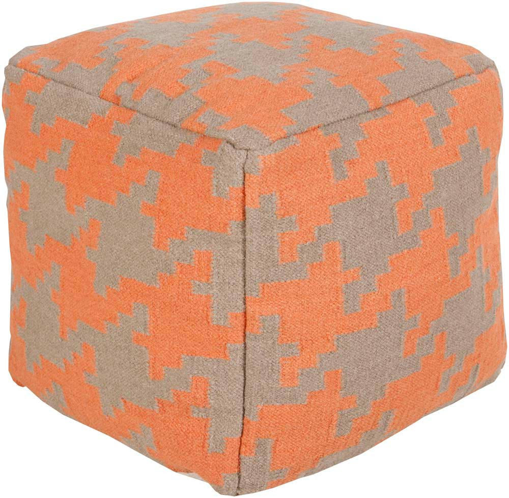 Surya Cube Hand Made Wool Pouf, Coral,Ivory