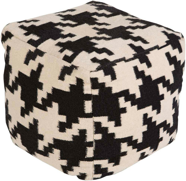 Surya Cube Hand Made Wool Pouf, Black,Ivory