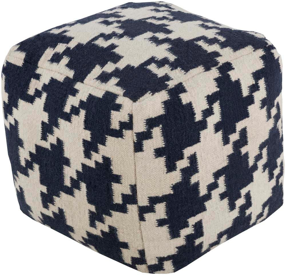 Surya Cube Hand Made Wool Pouf, Cobalt,Ivory
