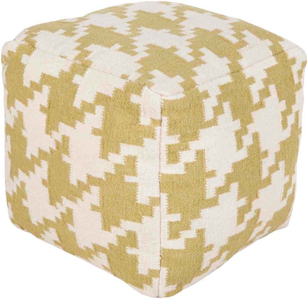 Surya Cube Hand Made Wool Pouf, Lime,Ivory