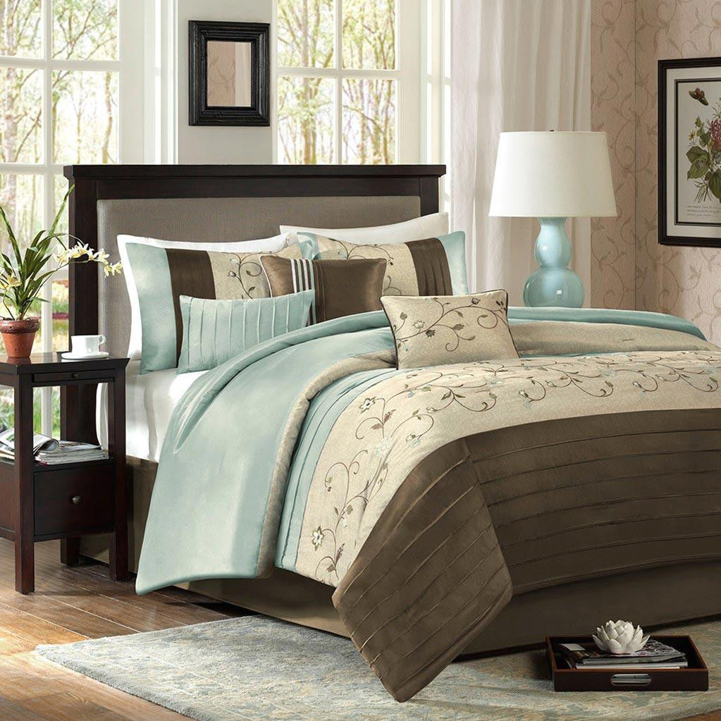 Serene Polyester Polyoni Pieced Solid 7 Pieces Comforter Set  - Bedding | Madison Park