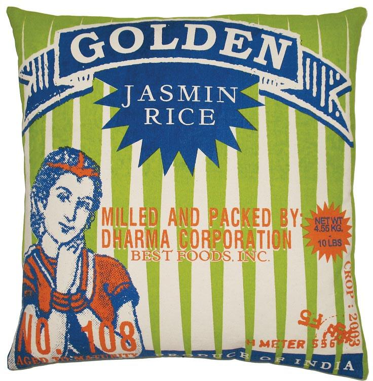 Koko Company Golden Rice Printed Cotton 20 by 20 inches Pillow, Lime, Navy