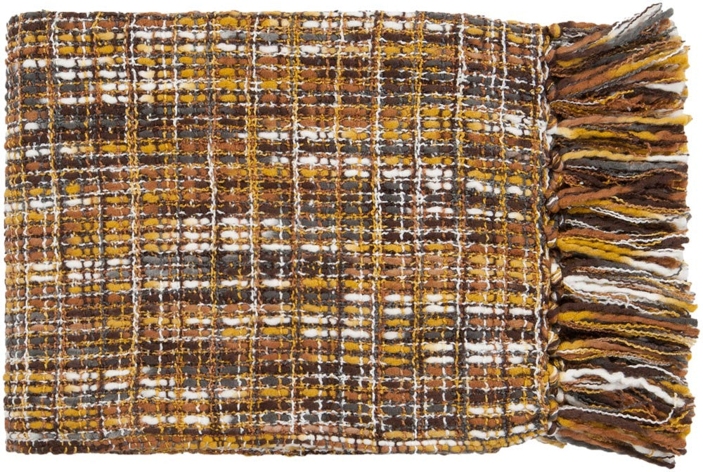 Surya Tabitha 50 by 60 inches Woven Acrylic Throw, Gold, Ivory, Charcoal, Tan, Chocolate