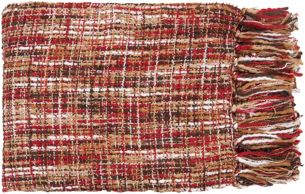 Surya Tabitha 50 by 60 inches Woven Acrylic Throw, Cherry,Ivory,Beige,Tan,Black