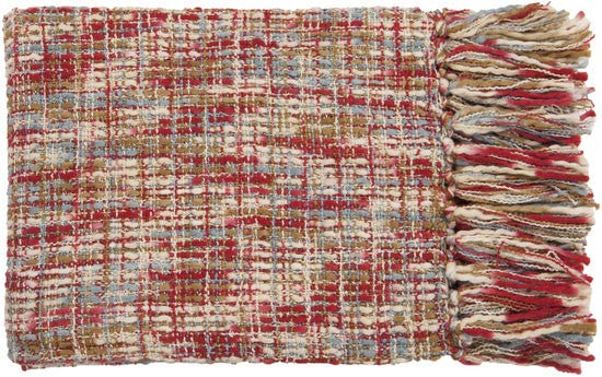 Surya Tabitha 50 by 60 inches Woven Acrylic Throw, Cherry, Ivory, Gold, Slate