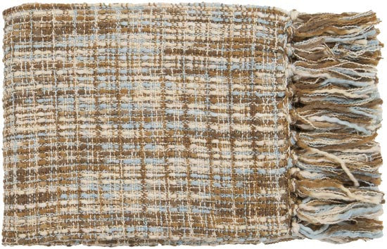 Surya Tabitha 50 by 60 inches Woven Acrylic Throw, Sky Blue, Beige, Gold, Chocolate, Ivory
