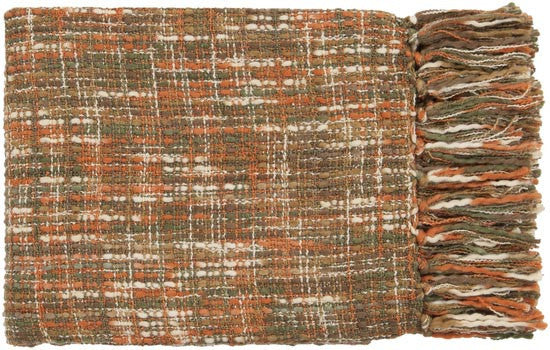 Surya Tabitha 50 by 60 inches Woven Acrylic Throw, Burnt Orange,Beige,Slate,Chocolate,Forest,Gold