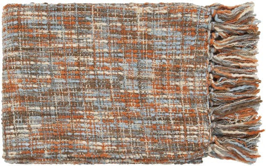 Surya Tabitha 50 by 60 inches Woven Acrylic Throw, Burnt Orange, Beige, Slate, Chocolate