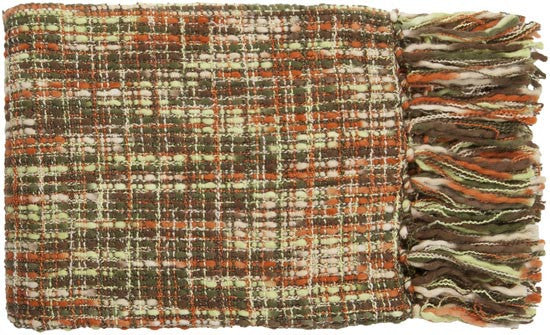 Surya Tabitha 50 by 60 inches Woven Acrylic Throw, Burnt Orange, Lime, Forest, Ivory, Chocolate