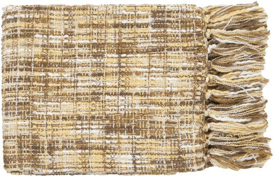 Surya Tabitha 50 by 60 inches Woven Acrylic Throw, Peach, Gold, Chocolate, Ivory