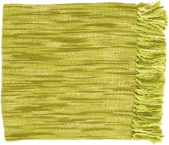 Surya Teegan 55 by 78 inches Woven Acrylic Throw, Lime, Olive, Ivory, Moss