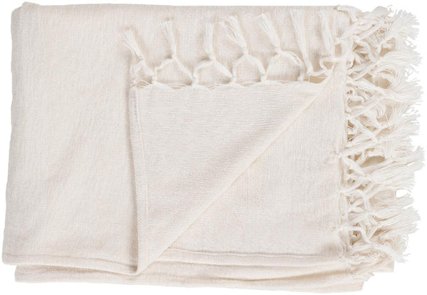 Surya Tessa 40 by 60 inches Woven Wool, Cotton Throw, Ivory