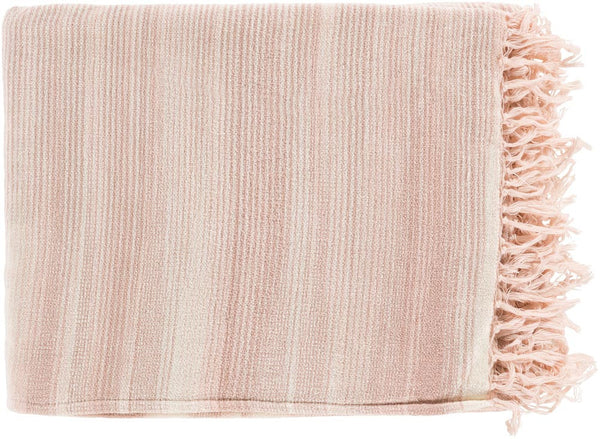 Surya Tanga 50 by 60 inches Woven Cotton Throw, Rust, Beige, Ivory, Ivory