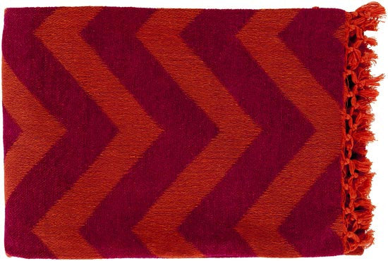 Surya Thacker 50 by 70 inches Woven Cotton Throw, Tangerine, Magenta