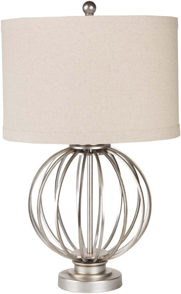 Modified Drum Antiqued Silvertone Thela Table Lamp