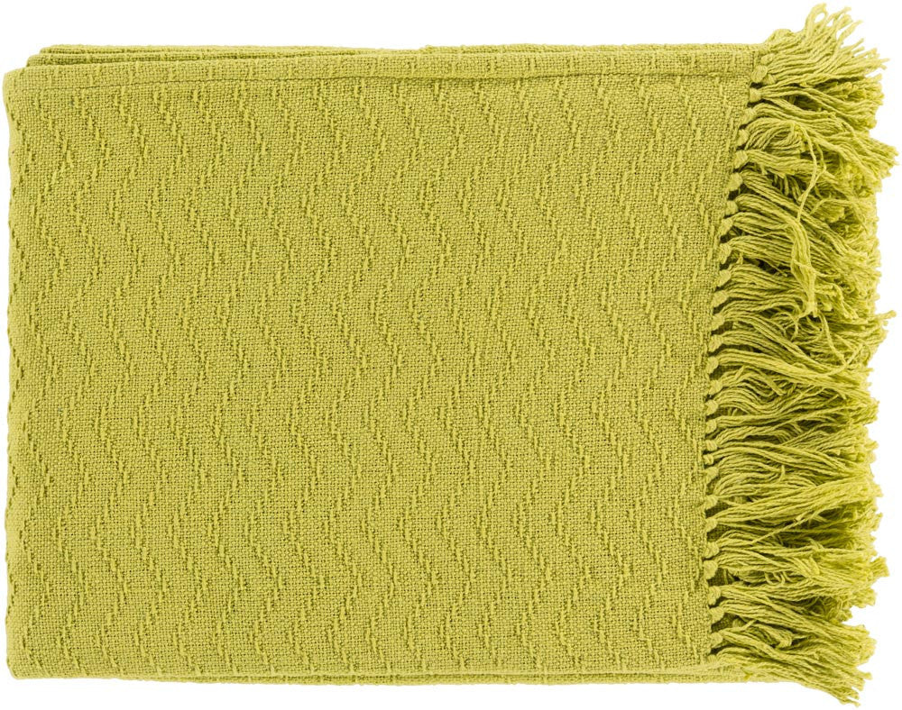 Surya Thelma 50 by 60 inches Woven Cotton Throw, Lime