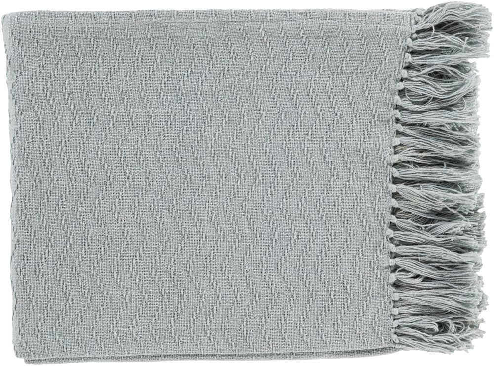 Surya Thelma 50 by 60 inches Woven Cotton Throw, Slate