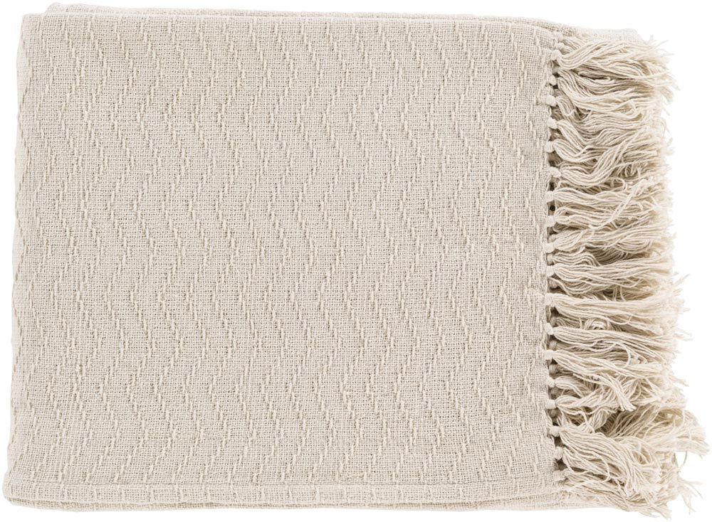 Surya Thelma 50 by 60 inches Woven Cotton Throw, Ivory