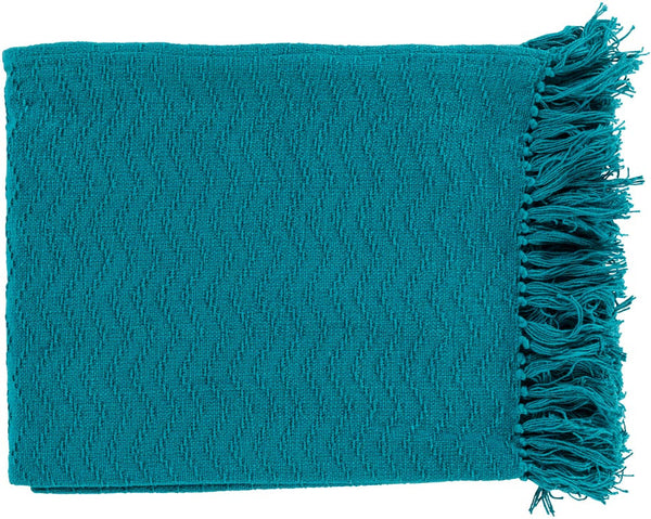 Surya Thelma 50 by 60 inches Woven Cotton Throw, Teal