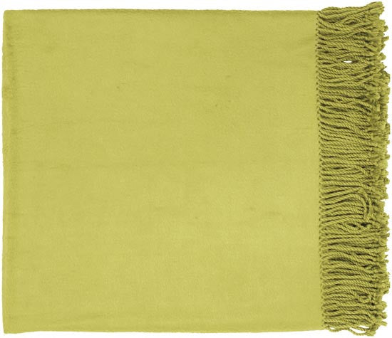 Surya Tian Tian 50 by 67 inches Woven Bamboo, Cotton Throw, Olive