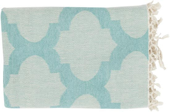 Surya Trellis 50 by 70 inches Woven Cotton Throw, Ivory, Aqua