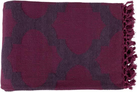 Surya Trellis 50 by 70 inches Woven Cotton Throw, Eggplant, Magenta