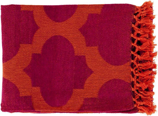 Surya Trellis 50 by 70 inches Woven Cotton Throw, Tangerine, Magenta