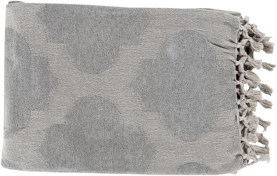 Surya Trellis 50 by 70 inches Woven Cotton Throw, Light Gray
