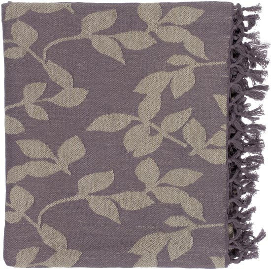 Surya Timora 50 by 70 inches Woven Cotton Throw, Mocha, Gray
