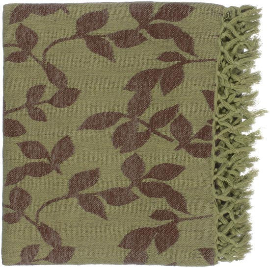 Surya Timora 50 by 70 inches Woven Cotton Throw, Moss, Mocha