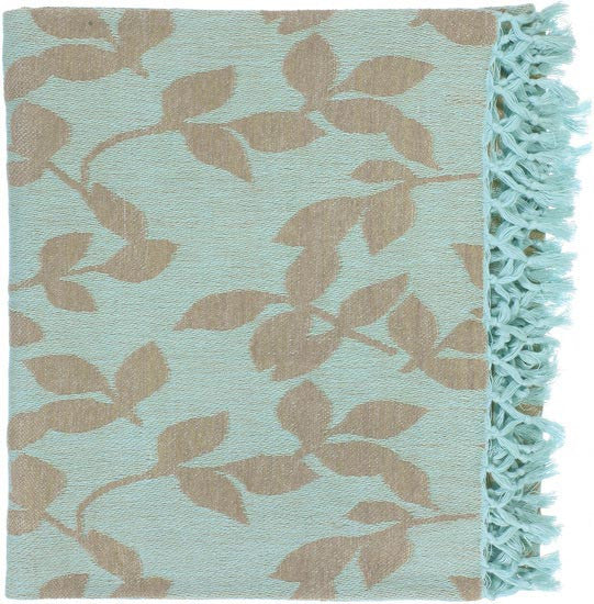 Surya Timora 50 by 70 inches Woven Cotton Throw, Mint, Beige