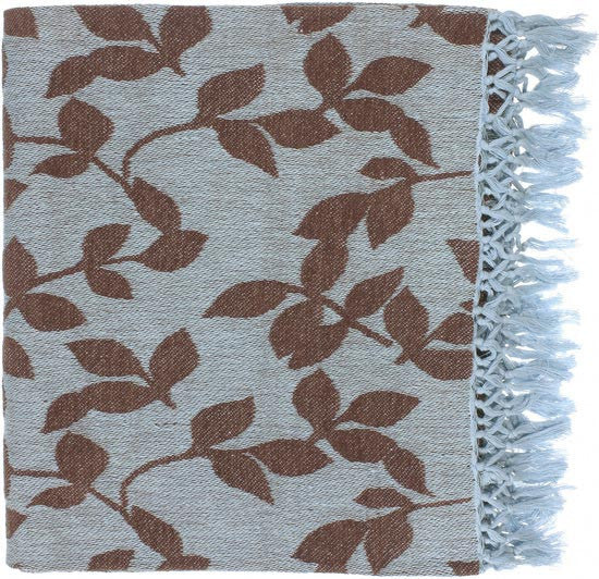 Surya Timora 50 by 70 inches Woven Cotton Throw, Mocha, Sky Blue
