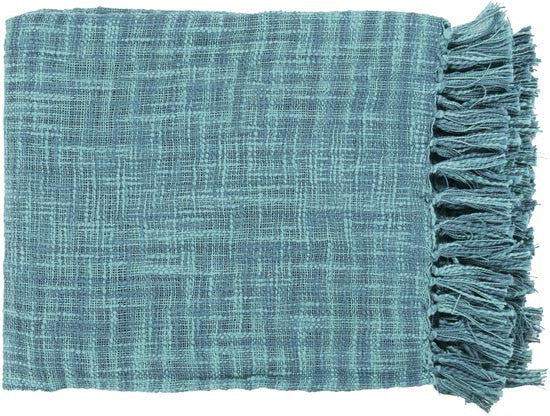 Surya Tori 49 by 59 inches Woven Cotton Throw, Teal