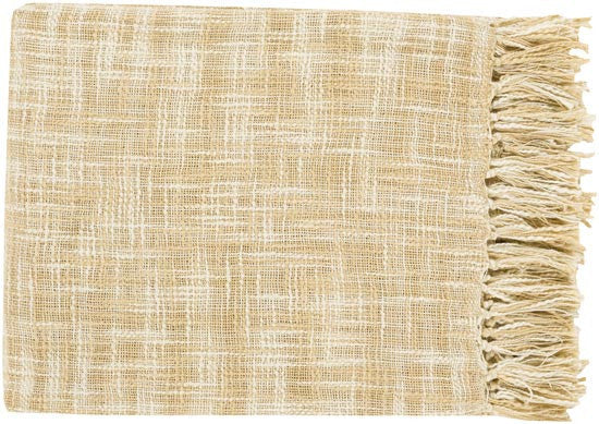 Surya Tori 49 by 59 inches Woven Cotton Throw, Ivory, Butter