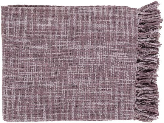 Surya Tori 49 by 59 inches Woven Cotton Throw, Light Gray, Mauve